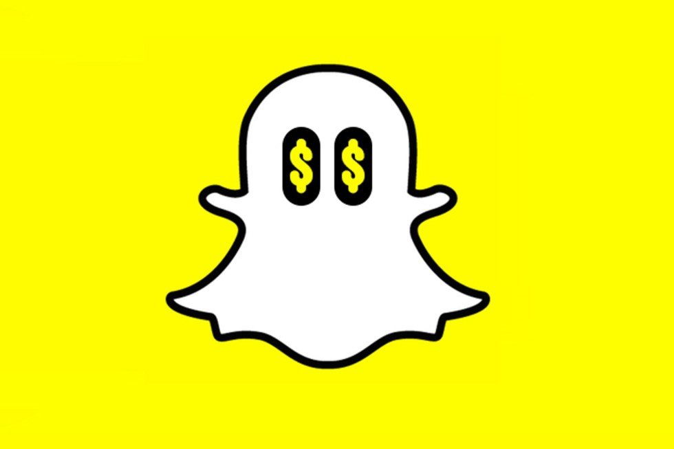 snapchat logo with dollar signs for eyes of the ghost in logo